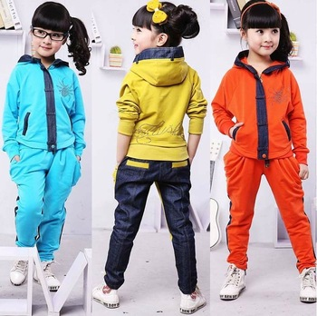 2015New Design Fashion Children Clothing Set Girl Denim Coat+Trousers Costume Kids Spring Autumn&Winter Cotton Sport hoodie Suit
