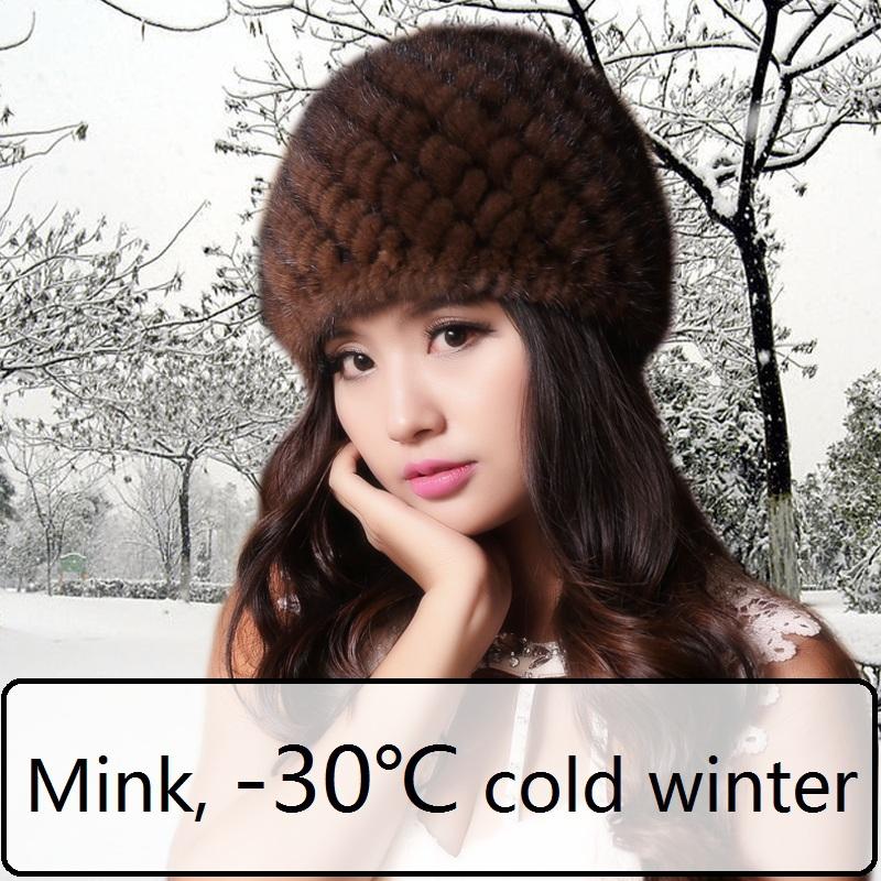 Women Russian Fur hats Luxury mink fur hat winter fur hat stripe toe cap covering cap Factory Price(China (Mainland))