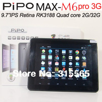 singapore post free PIPO M6 pro 3G Quad Core RK3188 1.6GHz 9.7 Inch Retina Screen Android 4.2 3G optional 2G RAM Bluetooth
