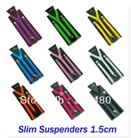 Free shipping-1.5cm wide Unisex Clip-on Elastic Braces Slim Suspender Y-back Suspenders over 20 colors mix Wholesale & Retail
