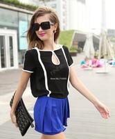 European Style Black White Contrast Color Chiffon Short Sleeve Shirt Top Blouse Drop shipping 17188
