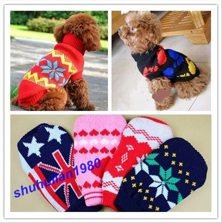 Lovely Puppy Pet Cat Dog Sweater Knitted Coat Apparel Clothes 5 Sizes(China (Mainland))