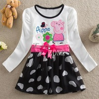2014 New Peppa pig dress baby girls dress fashion cotton peppa pig clothes long sleeves dresses with bowknot B9 SV002320