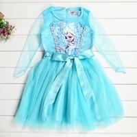 Hot Sale! Custom-made Movie Cosplay Dress Girl Fashion Dress Costume Princess Elsa Dress From Frozen for Children #6 SV004120