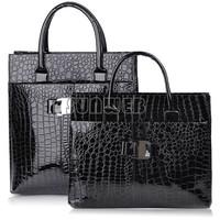 Fashion Style 2014 Women leather Handbag Luxury OL Lady Zipper Tote Shoulder Bag Black and Red B12 19068