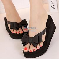 New flip flops women Ladies Summer Platform Flip Flops Thong Wedge Beach Sandals Bowknot Shoes B16 SV007269