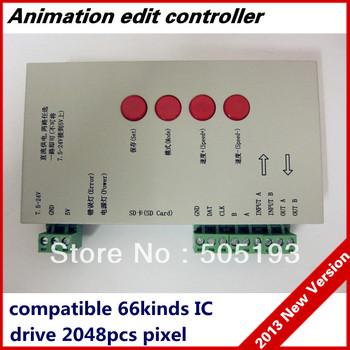 tm1804/lpd6803/dmx512/ws2811 dc5-24v rgb controlador de píxeles en píxeles luces led, control máximo 2048 piezas ic+2013version software