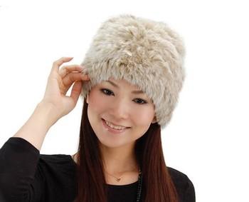 QD5192 Lady Fashion Genuine Knitted Rabbit Fur Hat warm cap headgear headdress accessory Wholesale
