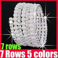 (23% off on wholesale) 7 Rows Crystal Cubic Zirconia Pearl Bracelet Simulated Rhinestone CZ Diamond Bracelet Z4