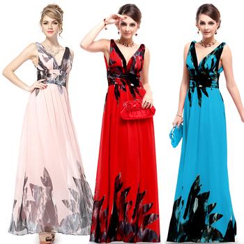 Выпускного вечера платья классический сексуальная двухместный v-образным вырезом шифон ну вечеринку цветочный печатных платья 2015 HE09641 бесплатная доставка