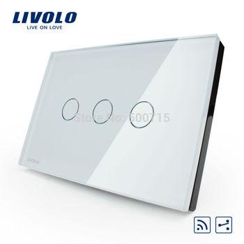 Manufacturer, smart home,US/AU standard,VL-C303SR-81,3-gang 2-way Remote Touch Light Switch, Crystal Glass Panel, LED indicator