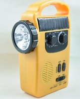 Solar radio, hand crank flashlight, emergency lights, LED solar lamp, outdoor equipment, rechargeable camping lamp.