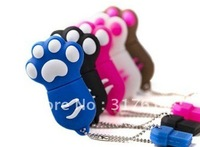 Free Shipping Lovely Paw 1GB 2GB 4GB 8GB 16GB USB Flash Drive Cute Mickey Feet  PVC Pendrive Free packing (Color Optional )