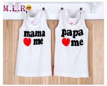 2pcs/Lot Toddler Girls BoysT shirts Tops Cotton Fit 1-4Yrs Baby One MAMA One PAPA 3521