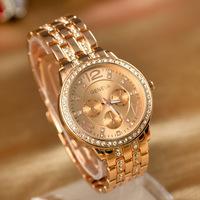 2014 Geneva Brand Full Rhinestone Steel Casual Watches Women Ladies Elegant Dress Quartz wristwatches 1035
