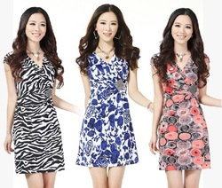 FreeShipping[Wholesale&Retail]4Colors! Guaranteed 100% 2013 Women Fashion Print Cotton Dress V-Neck Plus Size:S/M/L/XL/XXL/XXXL(China (Mainland))