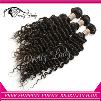 "pretty lady hair Brazilian Virgin Hair Extension Deep Curly hair weaves 12''-28"" 3pcs/lot  free shipping alibaba express"