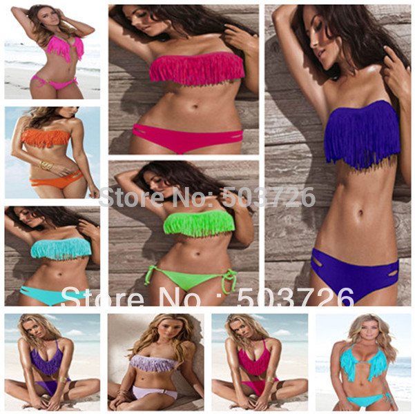 Free Shipping Hot Sale Swimwear Women Padded Boho Fringe Bandeau Bikini Set New Swimsuit Lady Bathing suit(China (Mainland))