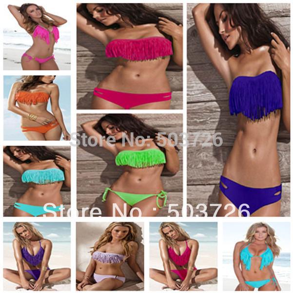 Free Shipping Hot Sale Swimwear Women Padded Boho Fringe Bandeau Bikini Set New Swimsuit Lady Bathing suit(China (Mainland))