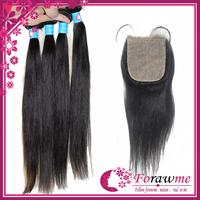 Forawme Hair 1b black straight peruvian virgin hair Handmade silk base closure with bundles 3pcs hair weave Human hair