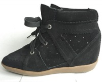 2015 new Isabel Marant Bobby Wedge Sneakers Women Real Genuine Leather black summer autumn Height Increasing Boot Platform Shoes