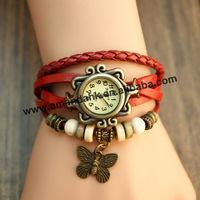 100pcs/lot,New Hot Sale Original Women Leather Vintage Watches Bracelet Wristwatches Butterfly Pendant Watches