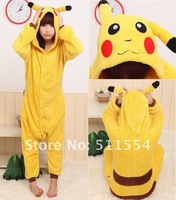 Free DHL Shipping (over 5pcs) Promoting  Wholesale ! 100% Fleece Women adult and child PIKACHU Animal pajamas one piece