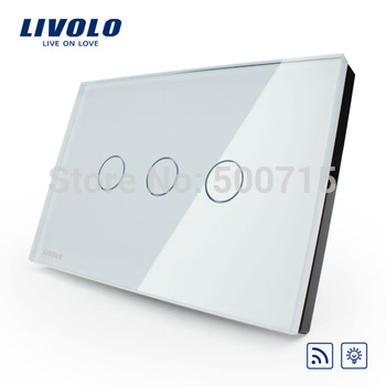 US/AU standard,VL-C303DR-81,Ivory Crystal Glass Panel, Digital Touch Screen, Dimmer and Remote Home Wall Light Switch
