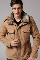 Ok autumn winter camel 6 color man detachable hoody hooded fit thickened liner cotton jacket coat outwear WM940 freeshipping