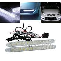2x 12 LED Flexible light bar warning strip auto DRL Lens led Waterproof universal car daytime running lights fog, 1pair/lot