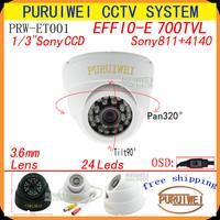 """100% Original 1/3""""Sony CCD Effio-e 700tvl 24leds IR with OSD Menu indoor HD 960H Surveillance CCTV dome camera. free shipping."""