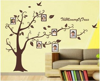 High quality! Extra Large 210cm*170cm! with transfer film! Photo Frames Tree Removable Art Vinyl Wall Stickers Decor Mural Decal