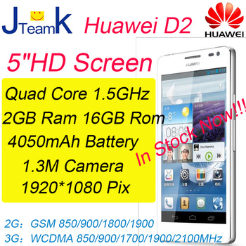 Huawei Ascend D2 1920*1080pix IPS Screen 3000mAh Battery Quad Core 2GB RAM 16GB ROM 13M Camera Russian language free gift
