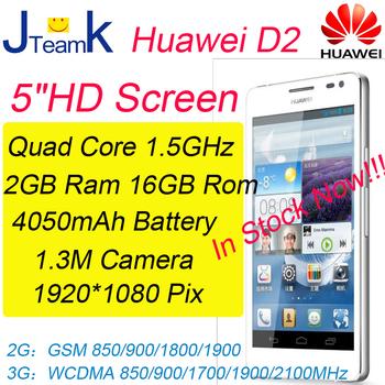 Huawei Ascend D2 1920*1080pix IPS Screen 3000mAh Battery Quad Core 2GB RAM 16GB ROM 13M Camera Russian language free gift