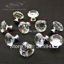 30mm Zinc Alloy Clear Crystal Sparkle Glass Kitchen Cabinet Knobs Handles Dresser Cupboard Door Knob Pulls(China (Mainland))