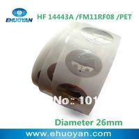 100pcs/lot * RFID Label/Sticker/Tag 13.56MHZ ISO 14443A 1K  PET Round 26mm