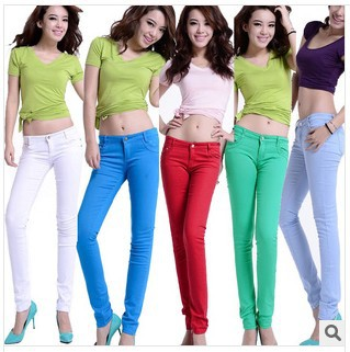 Women's Fashion jeans multicolour skinny pencil pants high quality elastic candy pants sexty trousers free shipping M691(China (Mainland))