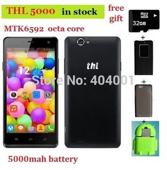 "Free flip case THL T100 T100S octa core MTK6592 1.7Ghz NFC OTG 5.0"" IPS 1920x1080 2GB RAM 32GB ROM iron man 13Mp Wendy"