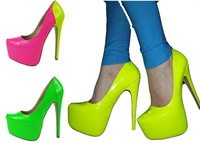 Big size 35-45 hot selling 7 colors fashion sexy PU16 cm high heels platform pumps woman shoes queen of clubs shoes party shoes