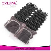 Deep Wave Peruvian Lace Closure,100% Human Hair Closure 4x4,Aliexpress YVONNE Hair Products,Natural Color 1B