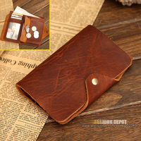 men's classical vintage waxed real leather purse with coin pocket, Raw and Natural Crazy Horse Leather Cowhide Wallet for Men