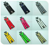Free shipping-Men`s Unisex Clip-on Braces Elastic Slim Suspender 1Inch Wide 36 colors Mix Y-Black Suspenders Wholesale & Retail