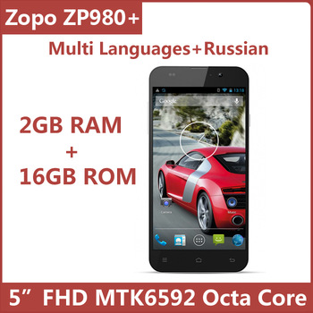 ZOPO ZP980+ MTK6592 Octa Core Mobile Cell Phone Android 4.2 5 Inch IPS FHD 1920*1080 2GB 16GB BT GPS Russian Support Original