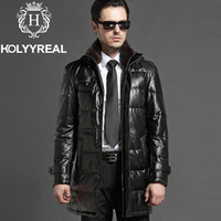 2013 New men's genuine sheepskin leather down coat with hood & stand real mink fur collar jacket for winter black long outerwear