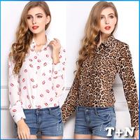 Blouses For Women 2014 Ladies Office Sheer Chiffon Blouse Leopard Shirt Tops 5 Pattern Blusa