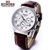 HOT SALE Luxury Brand  Swiss Binger Watches  Men Mechanical Hand Wind Leather Strap Watch Skeleton dress Men's wristwatch