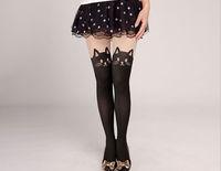 Sexy cat high black silk over-the-knee  High  Pantyhose Stockings womens Tights kitt  bowknot kawaii Free Shipping