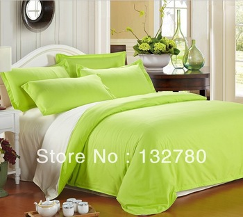 2014 New Style FREE SHIPPING Solid  100% cotton bed sheets cotton piece set/  korean bedding set King/Queen size