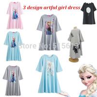 Retail 2014 New Autumn children clothing,girls korean beach dress,cotton print butterfly long design t-shirt,suit 2-14Y child