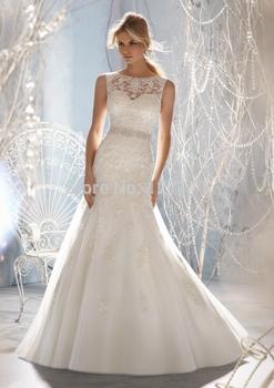 Новинка онлайн само декольте Embelished с кристально бусины тюль и кружева свадебное платье 2015 свадебное платье